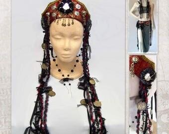 Tribal Fusion Headdress, Dark Fusion Headpiece, Goth Headdress, Red Burlesque Headdress, Tribal Belly Dance Headdress, Red Gothic Headdress