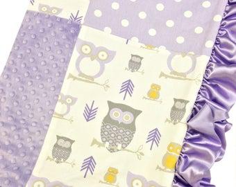 Crib Blanket Lavender Owl