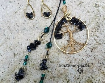 Black Tourmaline/Emerald Swarovski Tree of Life Pendant Necklace and Earring set