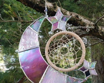 Stained Glass Crescent Moon and Star Dream Catcher Suncatcher/Window Hanging/Wall Hanging