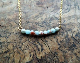 Blue glass bead pendant necklace - gold chain