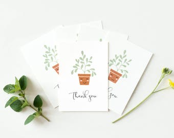 Set of 5 small thank you cards with plants, set of mini cards A7, mini thank you note cards, small cards pack, wedding thank you gifts tags