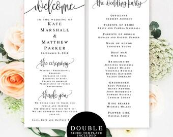 Wedding program template download Elegant wedding programs Editable template wedding Simple wedding programs DIY wedding program download