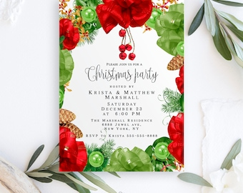 Christmas party invitation template Christmas party invitations instant download Christmas invitation editable pdf Christmas invite digital