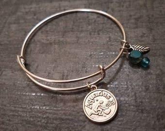 Aquarius bracelet, zodiac bracelet, January birthstone bracelet, February birthday gift, Aquarius, personalized, star sign bangle, zodiac