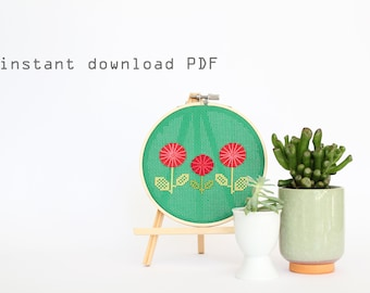 Red Spring Flowers - Easy DIY Counted Cross Stitch Pattern
