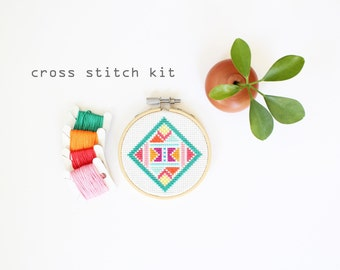 New Wave Diamond - Modern DIY Cross Stitch Kit, Beginners Cross Stitch Kit, Geometric pattern