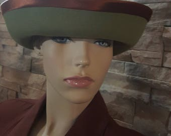 Formal hat,Olive green steampunk hat ,bowler hat,wool Victorian hat,