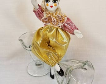 Harlequin Porcelain Doll, Vintage 80's Bollywood Star, Bisque Head/Hands/Feet, Iconic Metallic Costume, Collectible Harlequin