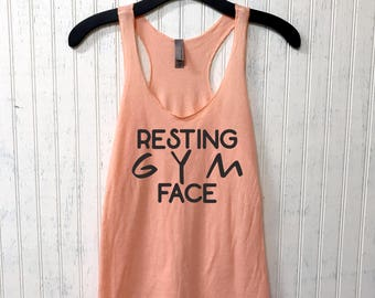 Resting Gym Face Muscle Tee, funny workout tank, gym shirt, yoga, funny shirt, workout shirt