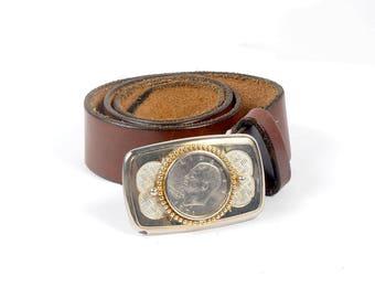 Vintage 70s Belt - 70s Leather Belt - Silver Dollar Buckle - Eisenhower Silver Dollar - 70s Brown Leather Belt - 1971 Silver Dollar