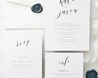 Janessa Silver Wedding Invitation Sets, Monogram Wreath Invitation, Invitations Printable or Printed, Elegant Invitations, Silver Wax Stamp
