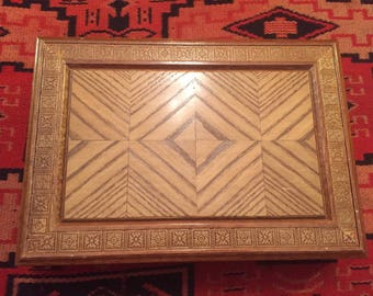 1970's Intricate Wood Jewellery Box