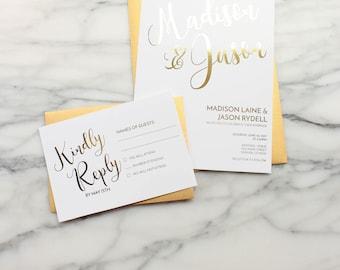 Gold Foil Wedding Invitation Suite // Custom Wedding Invitations // Calligraphy Wedding Invitation // Modern Wedding Invitation // RSVP Card