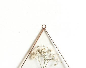 Glass pressed flower frame - Triangle - Gypsohila - Real flowers - Wall hanging