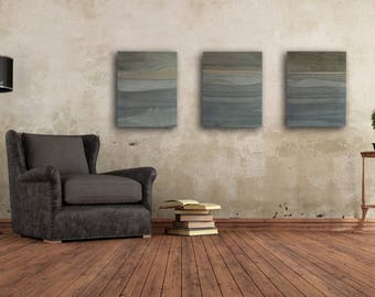 Charmant Triptych Art Set, Monochromatic Gray Art, Contemporary Marquetry, Industrial  Wall Art, Modern