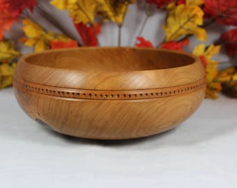 Hand Turned Cherry Wood Salad Bowl