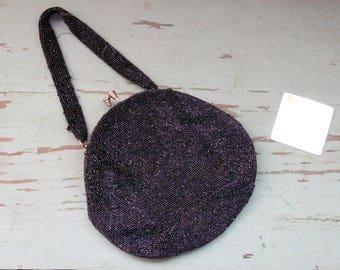 Vintage Mid Century WALBORG 50's Beaded Evening Bag Purse - Black Iridescent