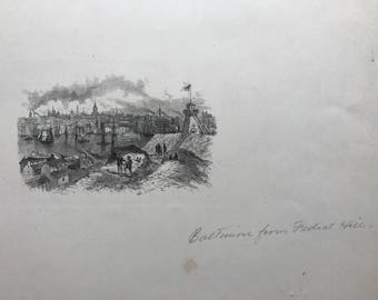 Old Lithograph of Baltimore from Federal Hill