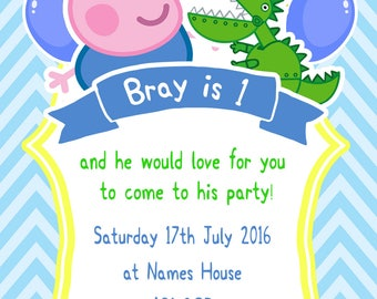 Personalised George Peppa Pig Party Invitations and Matching Printed Envelopes x 10