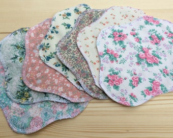 "Vintage Prints, 3-7-14 Reusable Cloth Pantyliners, Panty Liners, 100% Cotton, 7"", Can make Other Sizes or Smaller/Larger Sets"