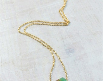 Raw Chrysoprase Necklace Gold filled Raw Crystal Necklace Raw Green Crystal Pendant Raw Mineral Jewelry Raw Crystal Gift, Gift for her