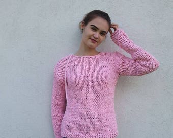 Pink Knit Pullovers , Pale pink soft women's pullovers , Women's Cotton Pullovers ,  Loose Knit,  Long Sleeves,  OOAK ,  Made to order