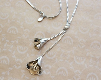 Vintage Avon Double Calla Lily Lariat Necklace Silver Tone with Gold Tone Accents
