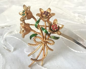 Floral Spread Brooch MyLu Brooch Colorful Rhinestone Pin Rhinestone Pin, Vintage Rhinestone Brooch Vintage Green, Purple, Red, Clear Holiday