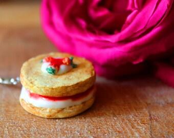 Strawberry shortcake charm, Miniature food, Food charm, Cake jewelry, Food jewelry, Polymer clay charm, Kawaii necklace, Strawberry charm
