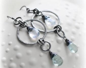 Aquamarine Earrings, Moss Aquamarine Dangle Earrings in Silver, Long Moonstone & Moss Aquamarine Earrings Gift for Her Handmade by Blissaria