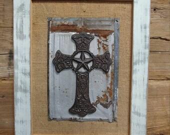 Vintage Cross framed in reclaimed wood