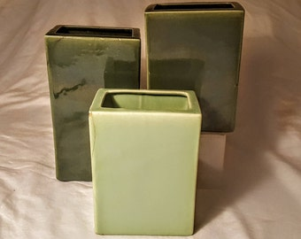 Lot of Three (3) Rare Vintage Bauer Pottery Ceramic Pillow Vases- Dark Green & Lime Green