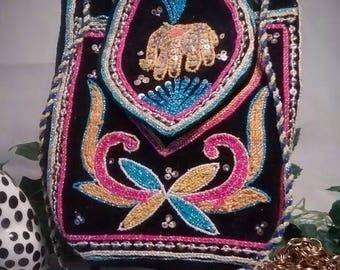 ON SALE Boho Vintage Black Velvet Evening Bag with Elephant Kalaga and Colordul Embroidery