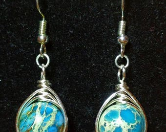 Blue Imperial Jasper Wire Wrapped in Silver