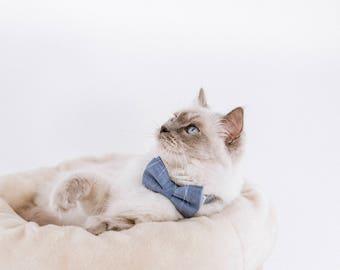Wedding Dog Bow Tie Collar, Cat Bow Tie Collar, Chambray Blue, Rose Gold Hardware, Wedding Dog Collar, Blue Cat Collar, Blue Dog Collar