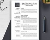 Resume Template | CV Template | Cover Letter | Word | PC, Mac | Professional, Creative, Modern, Simple, Teacher | Instant Download | BRIANNA
