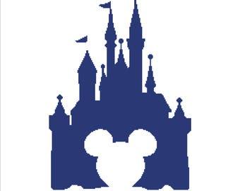 Buy 2 Get 1 Free-Modern cross stitch pattern-Disney Castle-Mickey Mouse -PDF pattern-Disney cross stitch-Best gift-decor-Instant Download
