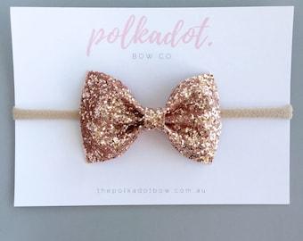 Rose Gold Glitter Bow Headband | Baby Headbands | Toddler Headbands | Glitter Baby Headband | Baby Headband | Glitter Baby Bows |Glitter Bow