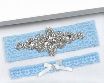 Wedding Garter Set, Bridal Garter, Rhinestone Wedding Garter, Blue Wedding Garter, White Eyelash Lace Garter, Toss Garter, Blue Garter