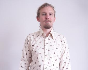 70s Debenhams Vintage shirt Creme dots print Casual Party Shirt Long sleeve Dandy Hipster Boho Hippie Shirt large size