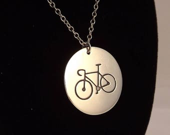 Bicycle Disc Pendant, Sterling Silver