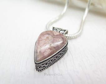 Vintage Tear Drop Rhdochrosite Sterling Silver Pendant and Chain