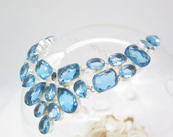 Blue Topaz Quartz Sterling Silver Necklace