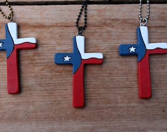 Texas Cross, Cross Necklace, Wood Cross Pendant, One State Under God, Texas Flag, Wooden Cross, Large Cross, Christian jewelry, Handmade