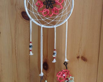 Red and pink frills lace Dreamcatcher