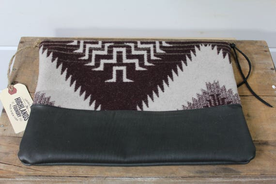 Pendleton Wool + Leather Clutch