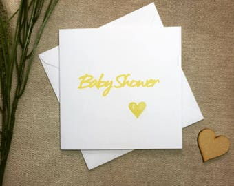Baby shower card, yellow baby shower card, gender neutral baby shower card, card for new baby