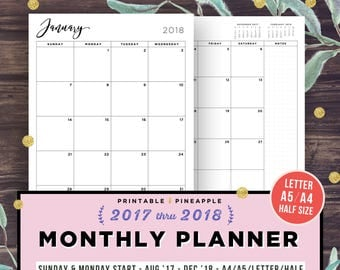 Monthly Planner Printable, 2017-2018 Agenda, Filofax A5, Half Size Inserts, Calendar, Dated Month on 2 Pages, A4, MO2P, Monday Sunday Start