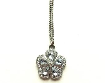 Vintage Crystal Flower Necklace